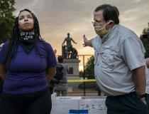 Debata poświęcona wyzwoleniu Lincolna. Statua w Lincoln Park in Waszyngtonie