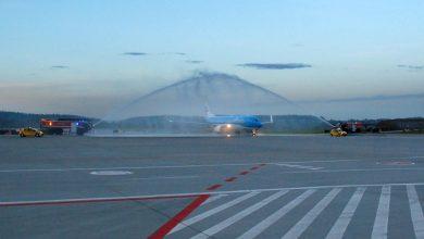 Photo of KLM: inauguracja rejsu z Krakowa do Amsterdamu. Powitano go salutem wodnym