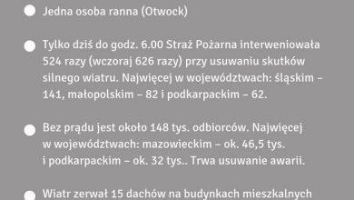 Photo of Skutki silnego wiatru w Polsce. 150 tysięcy osób bez prądu, 19 zerwanych dachów