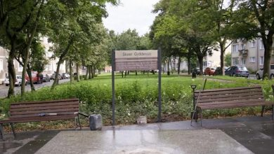 Photo of Skwer Gyddanyzc z zamontowaną tablicą. To najstarsza forma zapisu nazwy Gdańsk