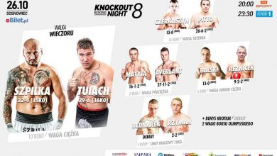 "Photo of Ceremonia Ważenia i karta walk przed ""Knockout Boxing Night 8"" w Sosnowcu: Szpilka vs Tuiach"