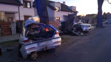Photo of Pijany uderzył w drzewo. Samochód rozerwało na dwie części. Zginęły dwie osoby