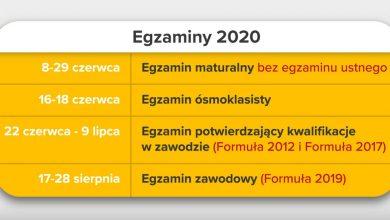 Photo of Harmonogram egzaminów i rekrutacji na rok szkolny 2020/2021