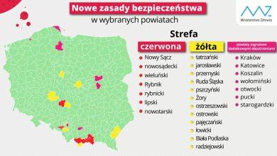Photo of Aktualna lista powiatów objętych dodatkowymi obostrzeniami. Kraków, Katowice i Koszalin w strefie różowej