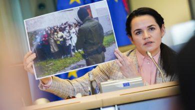 Photo of Swiatłana Cichanouska w Parlamencie Europejskim. Sassoli: wspieramy Białorusinów