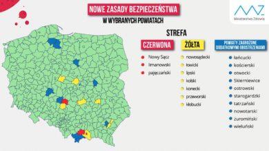 Photo of Koronawirus. Nowa lista powiatów w czerwonym i żółtym obszarze