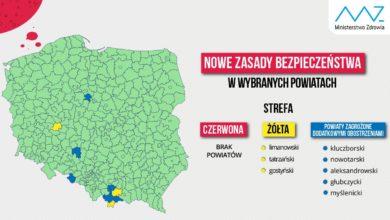Photo of Nowa lista powiatów objętych dodatkowymi obostrzeniami. Brak strefy czerwonej