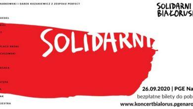"""Photo of Koncert """"Solidarni z Białorusią"""". Na scenie wystąpią m.in. Ørganek, Domagała, Szpak, i Golec uOrkiestra"""