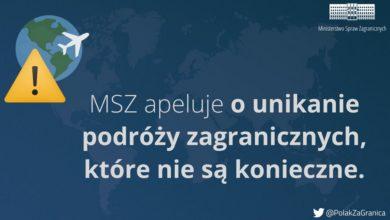Photo of Ministerstwo Spraw Zagranicznych. Apel o unikanie podróży zagranicznych