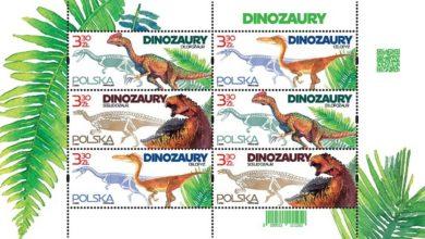 Photo of Znaczki pocztowe z dinozaurami. Dilofozaury, scelidozaury i celofyzy występowały na ziemiach polskich