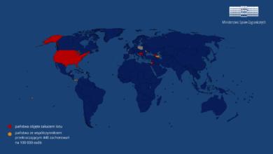 Photo of Międzynarodowy ruch lotniczy w Polsce. Zakaz lotów przedłużono. Lista państw i terytoriów