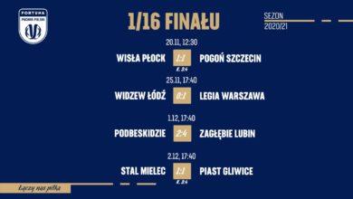 Photo of Piłka nożna. 1/16 finału Pucharu Polski. Wyniki