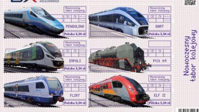 Photo of Nowoczesne pociągi na znaczkach. Ekologiczny środek transportu na lądzie